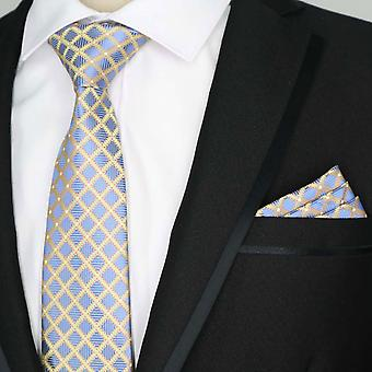 Blue oat & orange diamond pocket square & necktie set