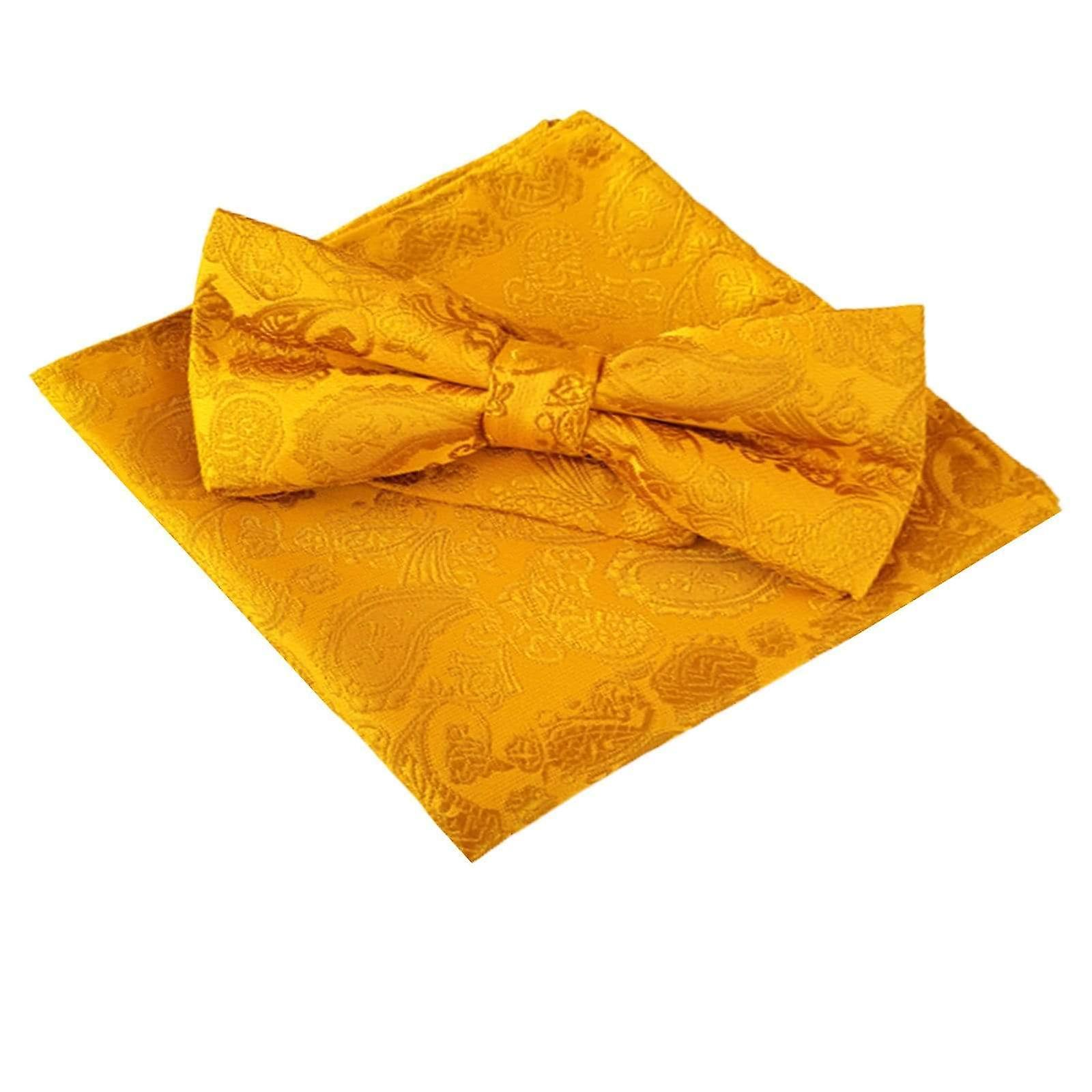 Mustard yellow gold paisley bow tie & pocket square