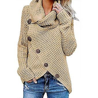 Women's Chunky Knit Turtle Cowl Neck Asymmetric Hem Wrap Sweater Top with But...