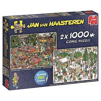Jan Van Haasteren Kerstmis geschenken 2-in-1 Jigsaw puzzels (2 x 1000 stuks)