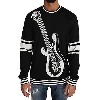 Dolce & Gabbana Black Cotton Guitar Crewneck Trui