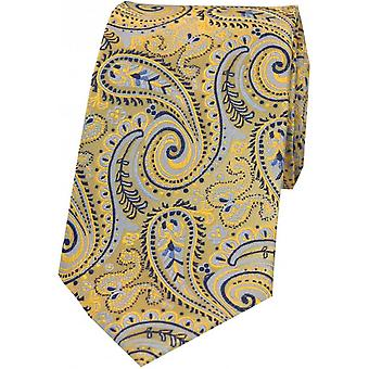 Posh and Dandy Luxury Swirly Paisley Silk Tie - Orange/Purple