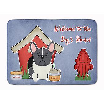 Dog House Collection French Bulldog Black White Machine Washable Memory Foam Mat