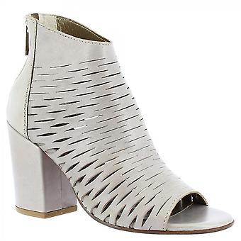 Leonardo Schuhe Frauen's handgemachte Fersen offene Zehen Stiefeletten aus weißen Napa