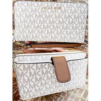 Michael kors jet set travel medium zip around phone holder wallet wristlet vanilla