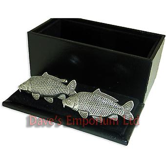 Common Carp Cufflinks Fine English Pewter - Gift Boxed - Fishing Fish