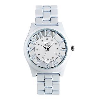 Eton Round See through surround Case, White Fashion Watch 3265J-WT