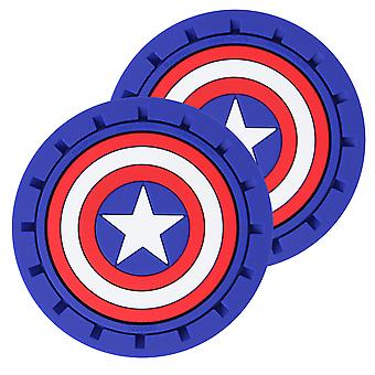 Captain America Shield Logo Car Cup Holder Coaster 2-Pak