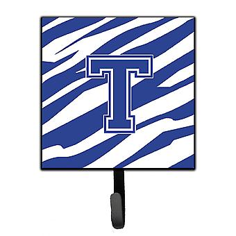 Letter T Initial  Tiger Stripe Blue and White Leash Holder or Key Hook