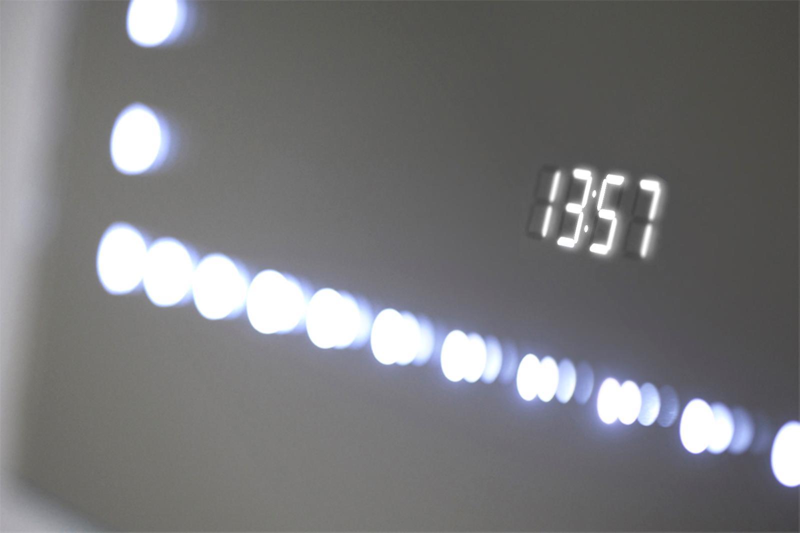 Miroir audio de salle de bains d'horloge ultraslim avec Bluetooth et capteur k190aud