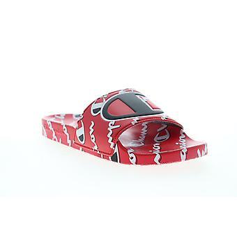 Champion IPO Mega Script  Mens Red Slip On Slides Sandals Shoes
