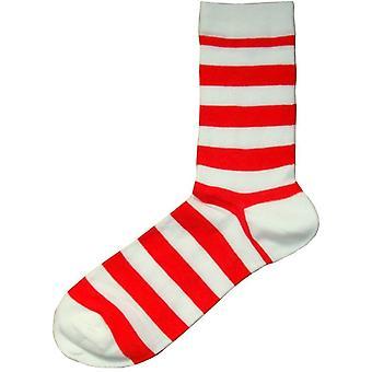 Bassin ja ruskea hooped raita sukat-punainen/valkoinen