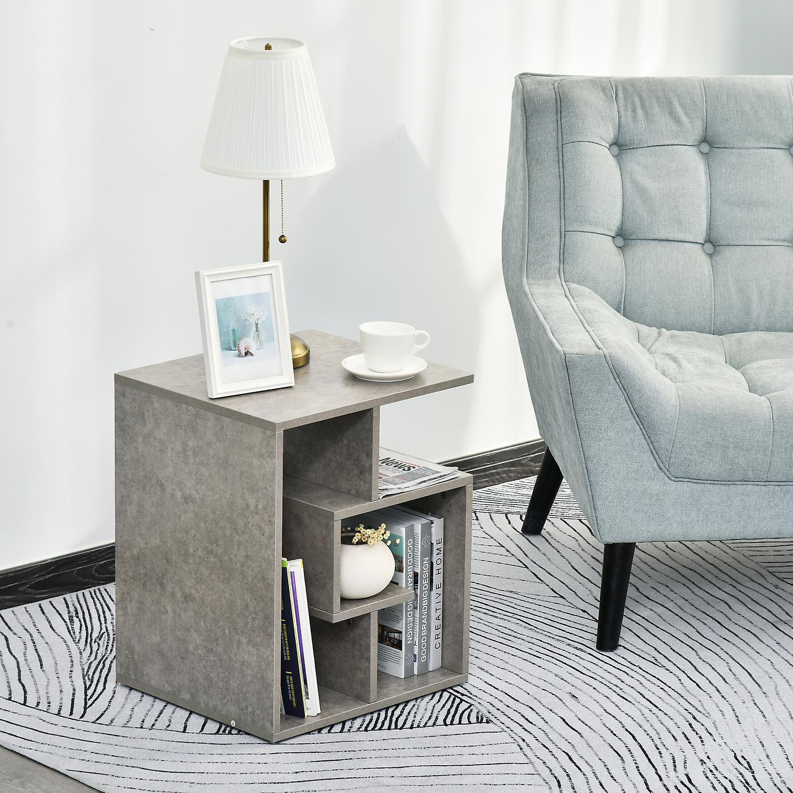 HOMCOM Wooden Side End Table Coffee Table Desk Open ...