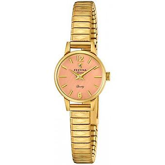 Extra Festina Quartz Analog Women's Watch with Stainless Steel Bracelet Plated in Gold F20263/2
