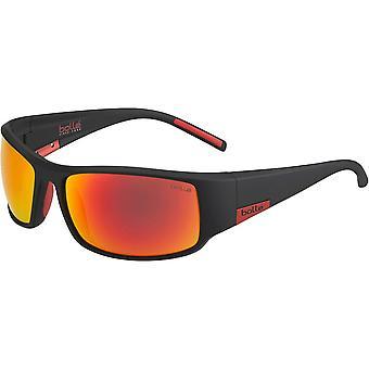 Bolle King Sunglasses Matt Black Metal Red Frame TNS Fire B20 Lens