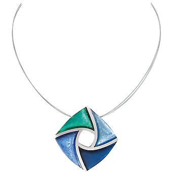 evig samling kite grønn og nyanser av blå sølvet harpiks og stål anheng halskjede