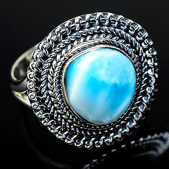 Larimar Ring Size 8 (925 Sterling Silver)  - Handmade Boho Vintage Jewelry RING11985