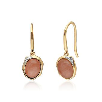 Irregular B Gem Dyed Red Jade & Diamond Drop Earrings in Gold Plated Sterling Silver  270E027104925