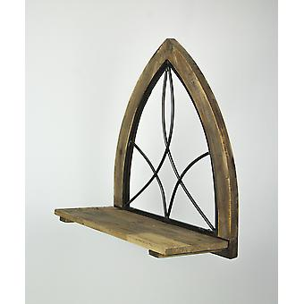 Antiqued Wooden Gothic Cathedral Arch Style Wall Shelf