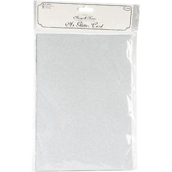 Craft Consortium Always & Forever A4 Glitter Cardstock 10/Pk-Silver