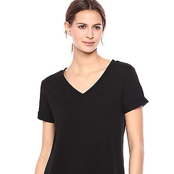 Daily Ritual Women's Terry Cotton and Modal Short-Sleeve V-Neck Dress, Black, Small
