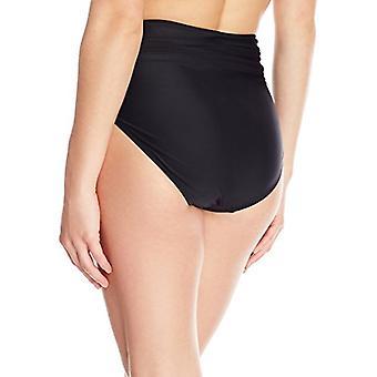 Coastal Blue Women's Swimwear High Waist Bikini Bottom, Ebony, M (8-10)