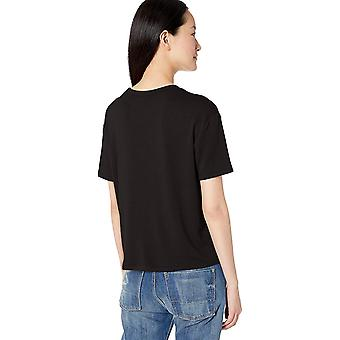 Brand - Daily Ritual Women's Supersoft Terry Short-Sleeve Boxy Pocket Tee, Black, Small