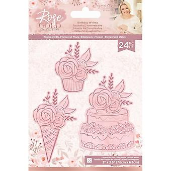 Crafter's Companion Rose Gold Stamp and Die Birthday Wishes