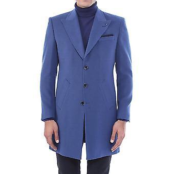 معطف قصير أزرق ذو الياقات البيضاء العريضة | wessi