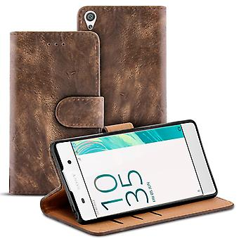 Vintage Book Case with Card Slot for Sony Xperia XA Stylish Wallet Leatherette Brown