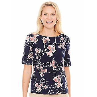 Chums Short Sleeve Print Top with Necklace