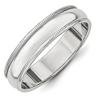 14 k oro bianco solido lucidato Engravable 5 millimetri milligrana Band Ring - anello Dimensione: 4-14