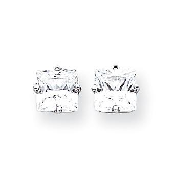 14 k hvidguld poleret indlæg øreringe 6mm prinsesse Cut Cubic Zirconia øreringe