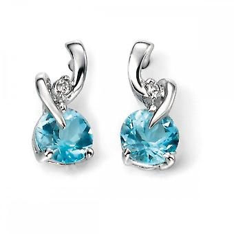 Elements Gold Elements 9ct White Gold Blue Topaz And Diamond Earring GE994T