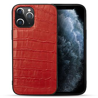 Voor iPhone 12 Pro/12 Case Genuine Leather Crocodile Texture Cover Red