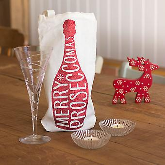 'Merry Proseccomas' Bottle Bag Prosecco Christmas Gift Secret Santa