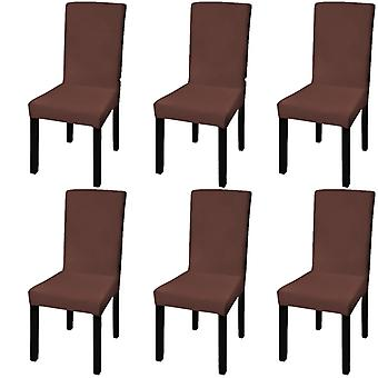 Straight Chair Husse Stretchhusse 6 pcs Brown