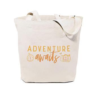 Abenteuer Awaits-Baumwolle Canvas Einkaufstasche