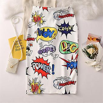 Mickey Mouse Women Cartoon Imprimé Jupe Enveloppée Taille Haute Slim-fit Hip Midi