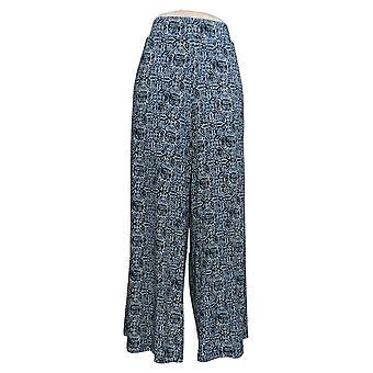 G.I.L.I. Women's Petite Pants Jetsetter Side Slit with Pockets Blue A307129