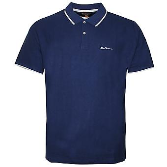 Ben Sherman Mens Tipped Pique Polo T-Shirt Short Sleeve Top Blue 0062105