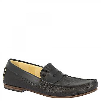 Leonardo Shoes Men's handmade round toe slip-on loafers moccasins shoes in dark blue openwork calf leather