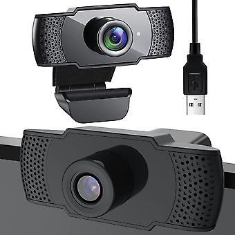 Full HD 1080p webbkamera - PC-kamera - svart - med mikrofon - usb