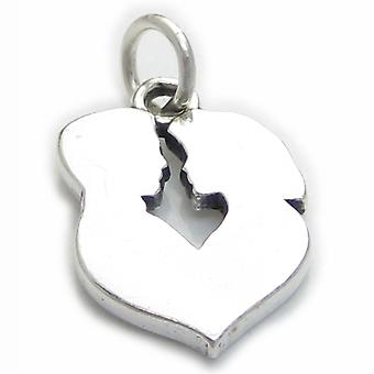 Man And Woman Profile Sterling Silver Charm .925 X 1 Love Charms - 3980
