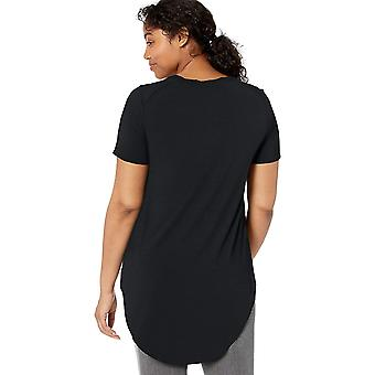 Brand - Daily Ritual Women's Jersey Short-Sleeve Open Crew Neck Tunic, Black, Large