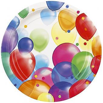Feestborden Ballonnen 23 Cm 8 Stuks