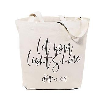 Lascia brillare la tua luce, Borsa tote in tela matthew 5:16 in cotone