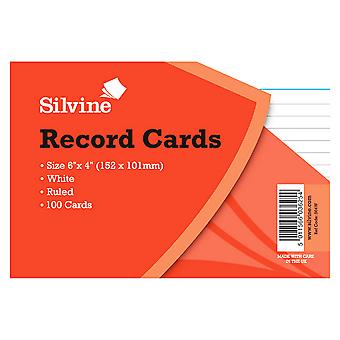 Silvine Medium Record Cards Pencil Feint 100 Sheets