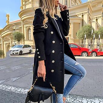 Jeseň-zima Ženy Elegant Woolen Office Jednoduchý ležérny kabát