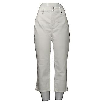 NYDJ Women's Jeans Cool Embrace Skinny Crop Side Slits Optic White A377695